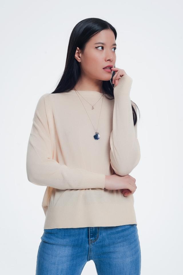 Maglione girocollo a lavorazione fine in beige