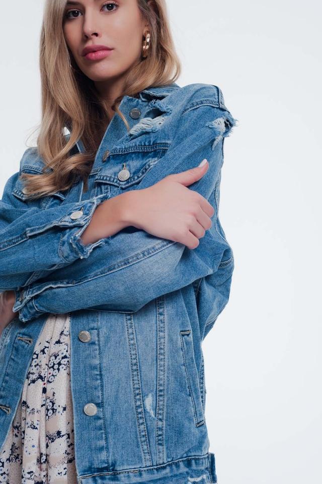 Giacca di jeans girlfriend blu slavato