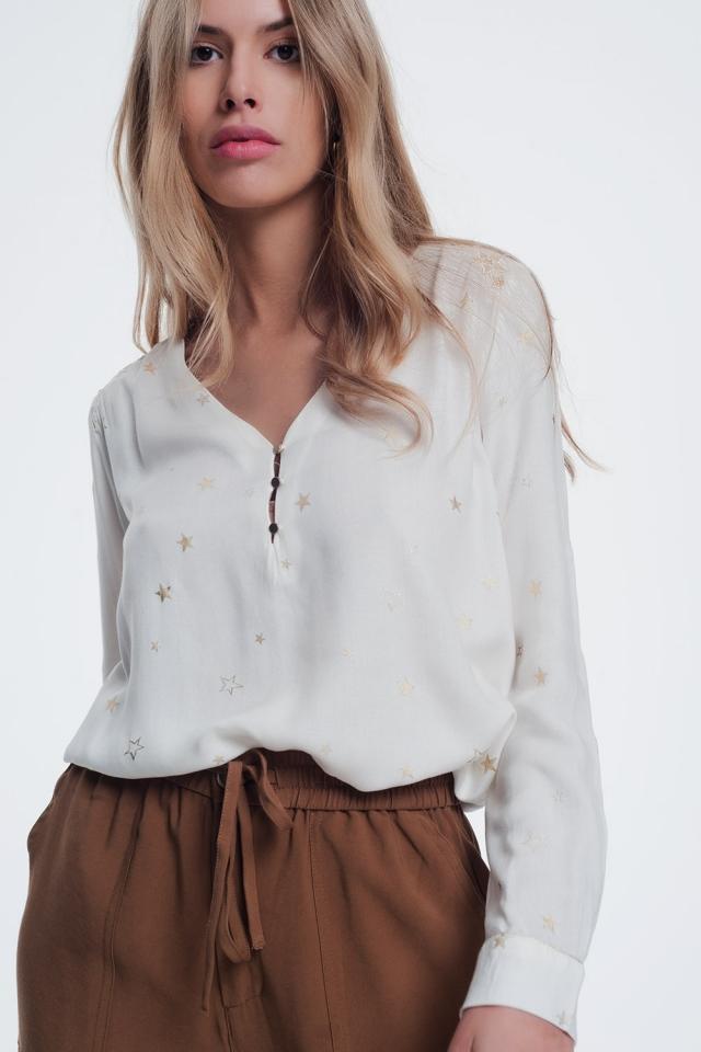Camicia a maniche lunghe con stampa stella crema