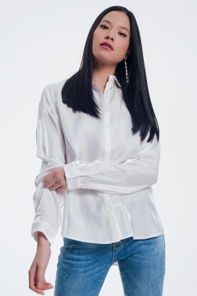 Camicia in raso bianco