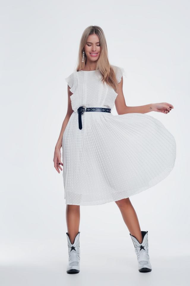 Vestito midi puntinato con volant in bianca