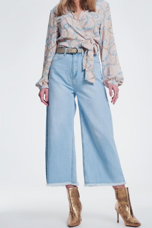 Jeans Culotte con orlo strappato