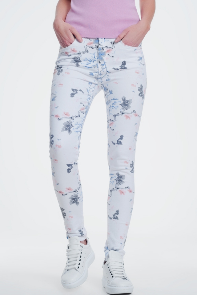 Pantalone skinny bianchi con stampa floreale