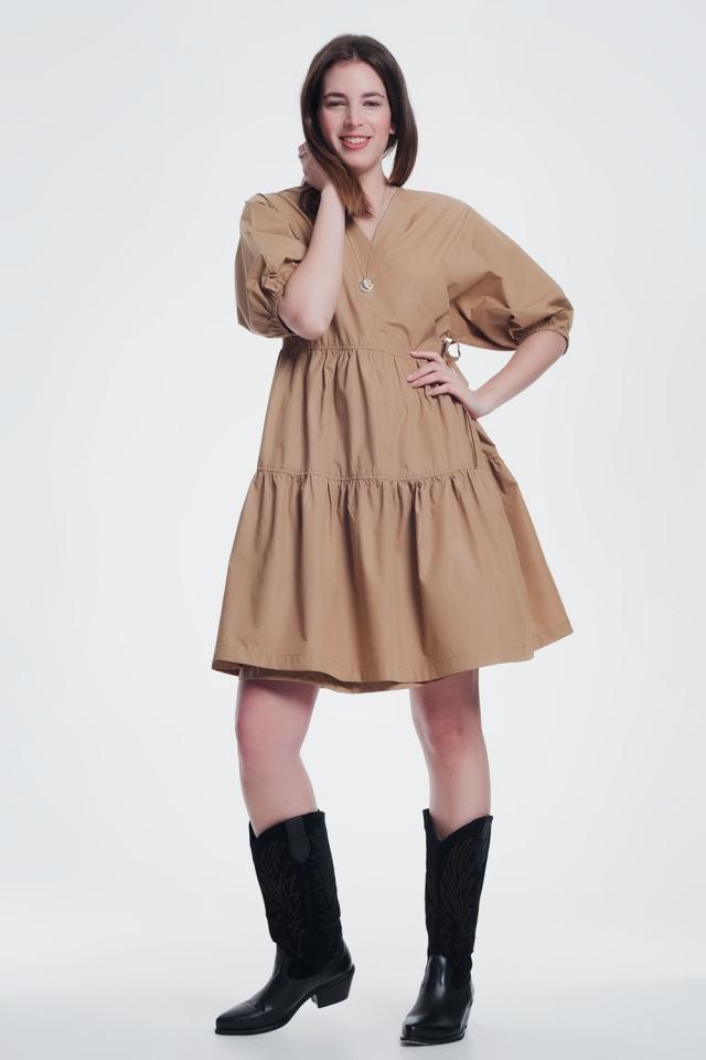 Vestito midi con maniche larghe marrone