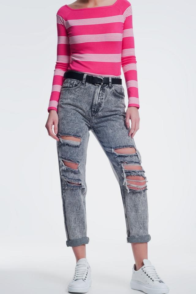 jeans dritti strappati in grigio