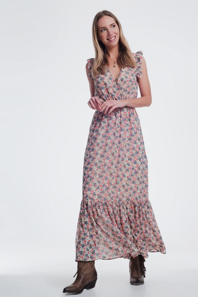 vestito lungo con scollo a V beige a fiori