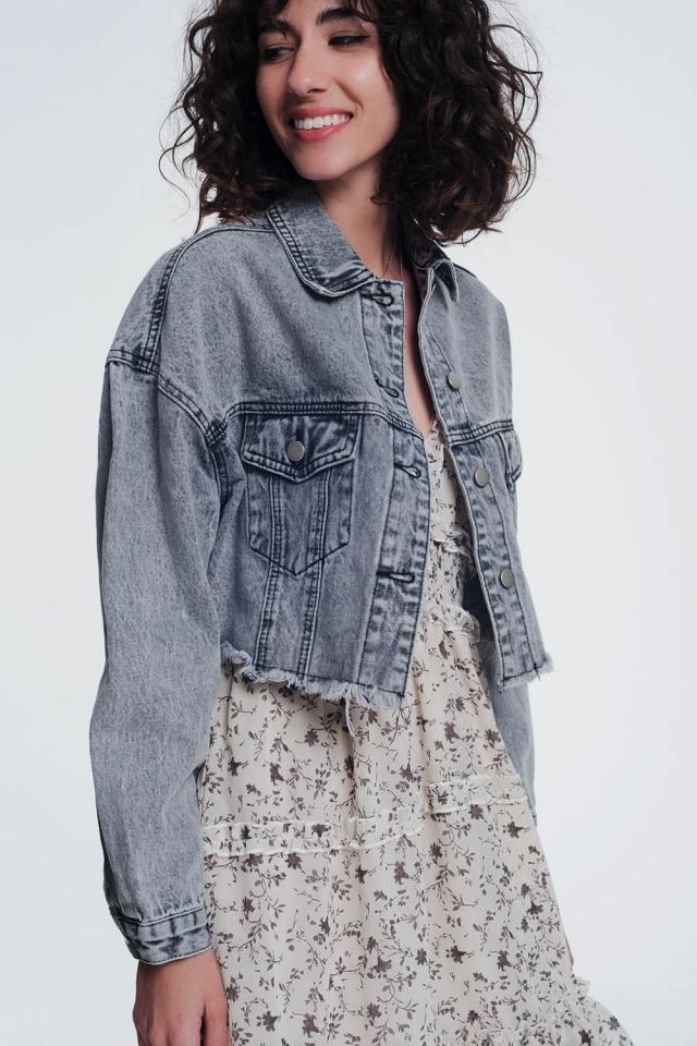 giacca di jeans ritagliata in grigio