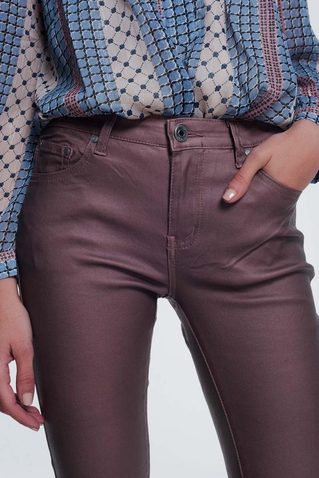 Pantaloni in tessuto spalmato rosa