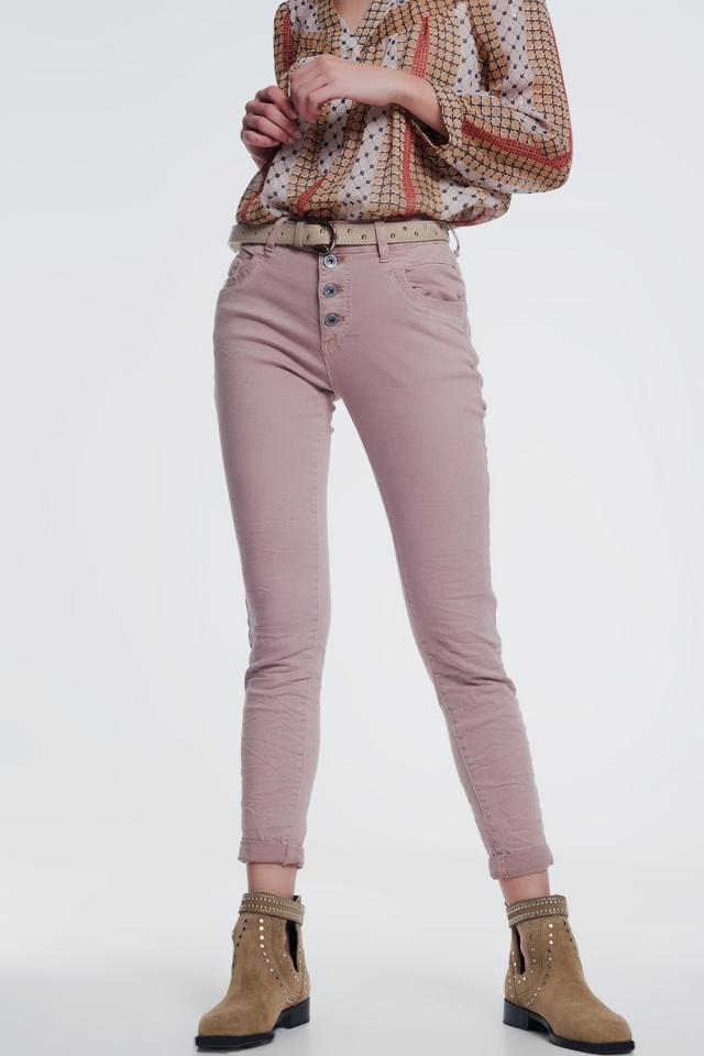 Jeans boyfriend gamba a palloncino in rosa