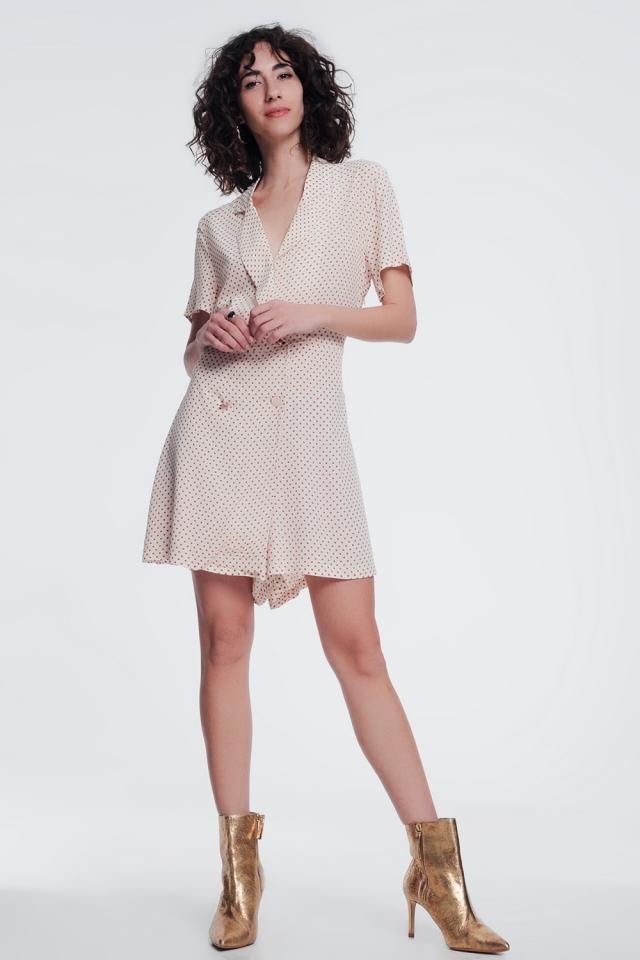 vestito frontale con bottoni in beige