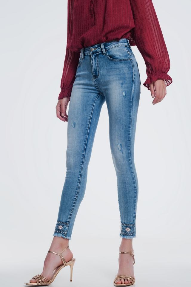 jeans in denim super skinny con strass