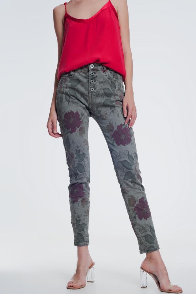 jeans kaki boyfriend con stampa floreale