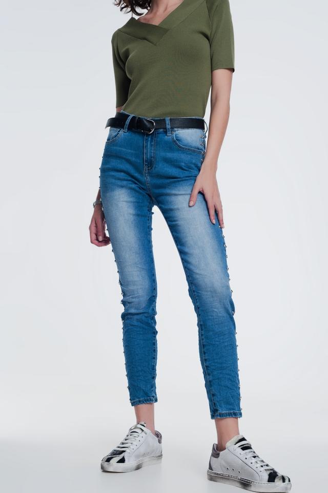 jeans con borchie denim stropicciato