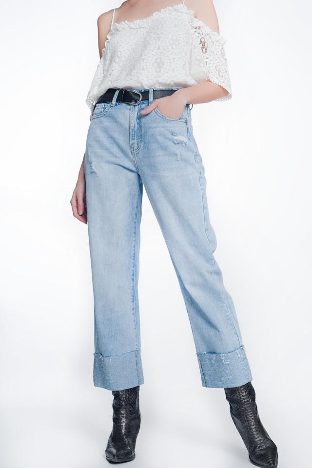 Jeans cropped con dettaglio cristalli strass