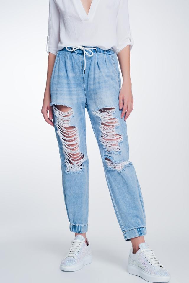 Joggers di jeans strappati blu lavaggio chiaro