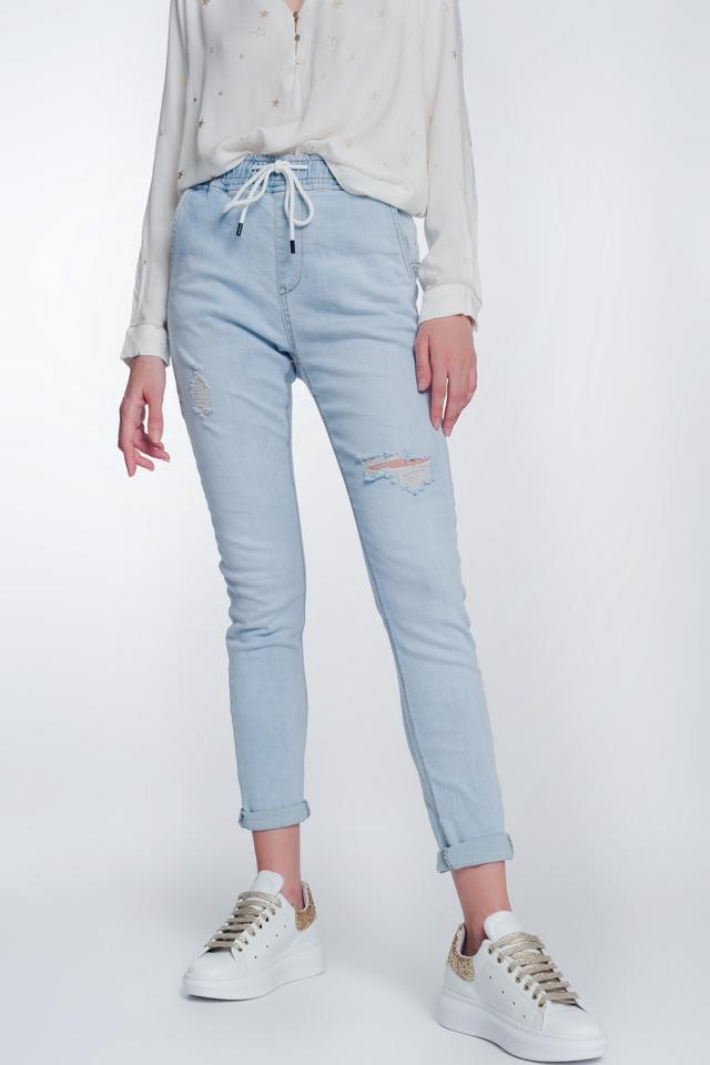 Jeans stile joggers lavaggio chiaro