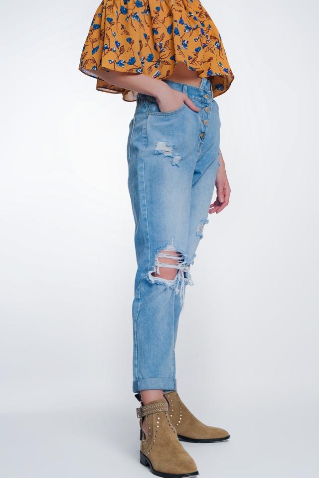 Mom jeans a vita alta con bottoni sul davanti