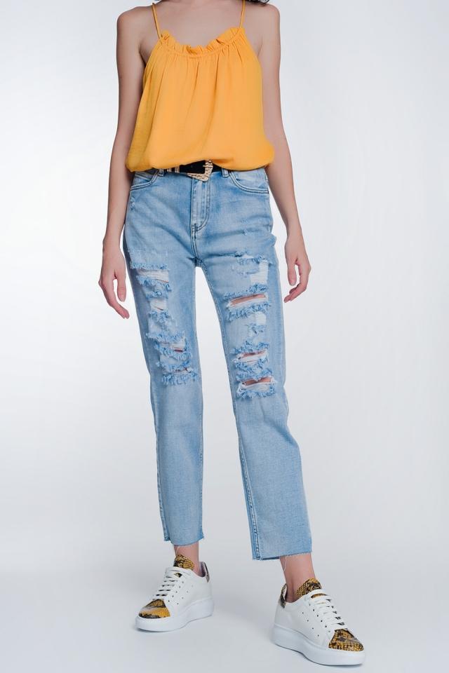 Jeans cropped con fondo ampio e grezzo azzurri