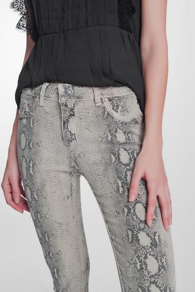 Pantaloni double-face skinny in vernice pitonati