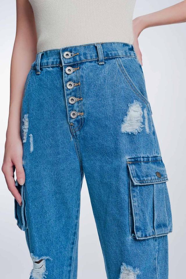 Jeans rigidi classici con tasche cargo azzurro stone wash