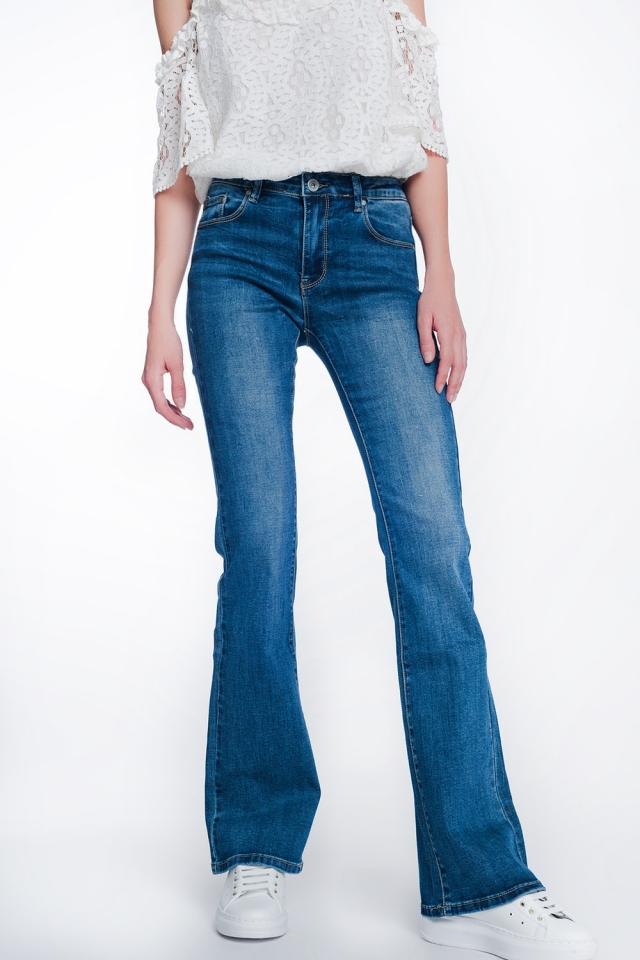 Jeans a zampa skinny a vita alta lavaggio autentico