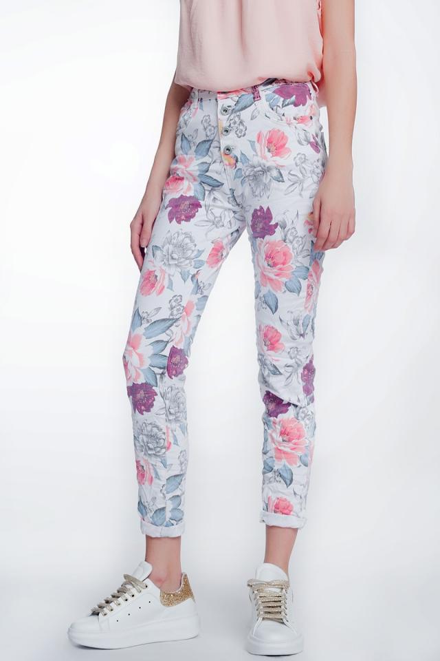 jeans bianco boyfriend con stampa floreale