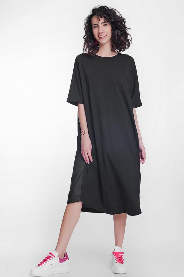 Vestito grembiule midi in popeline nero