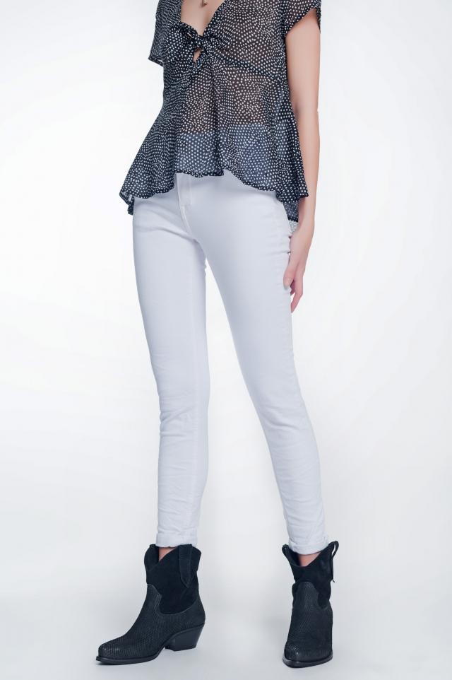 Pantalon skinny a vita alta in bianco