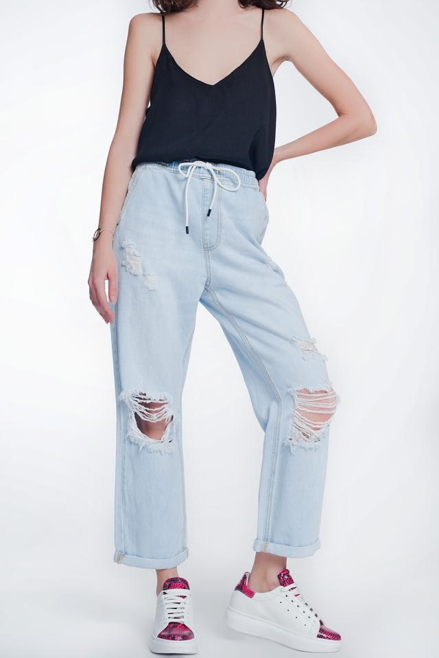 Jeans corti dritti a vita alta blu lavaggio chiaro