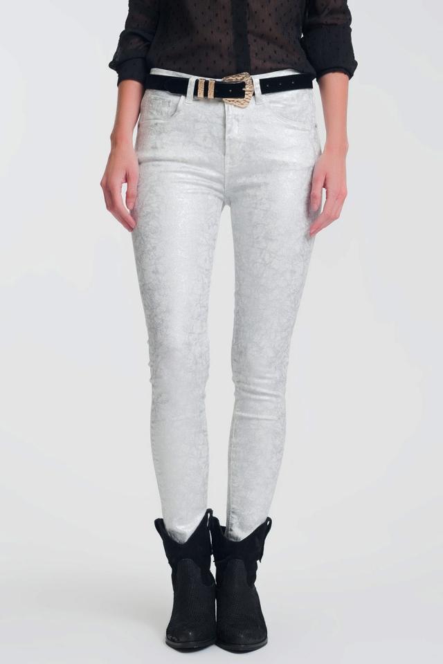 Pantaloni skinny super stretch con stampa argento