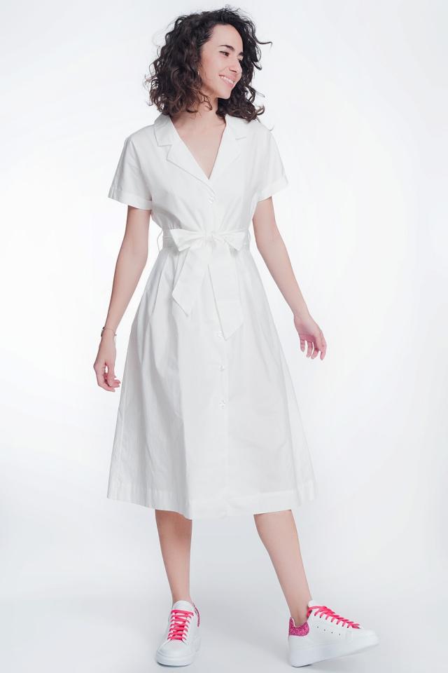 Abito camicia in popeline bianco con cintura e manica corta