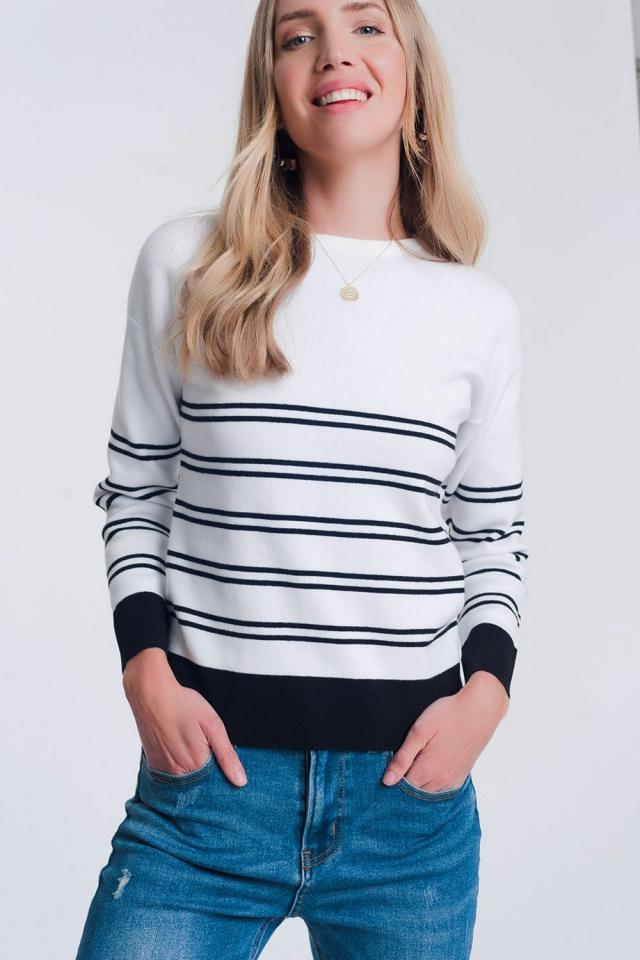 Maglione bianco a righe breton