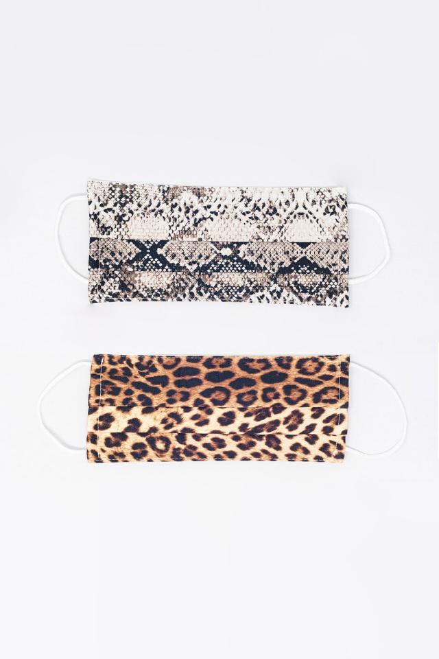 2 PACK Maschera con stampa pitone e leopardo