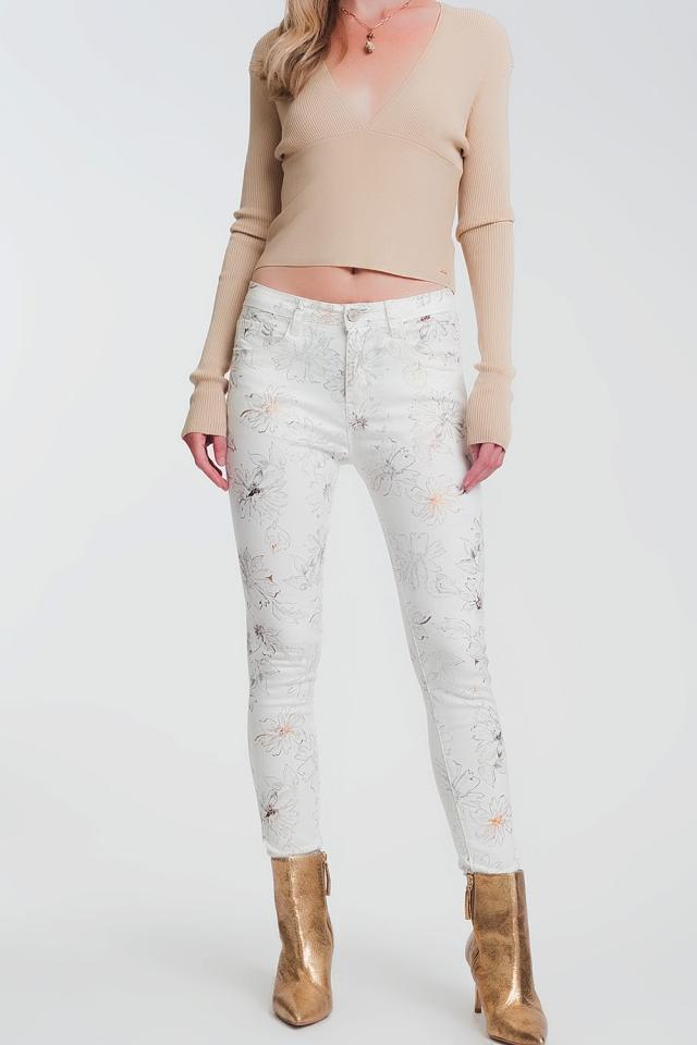 Pantaloni super skinny bianchi con stampa a fiori
