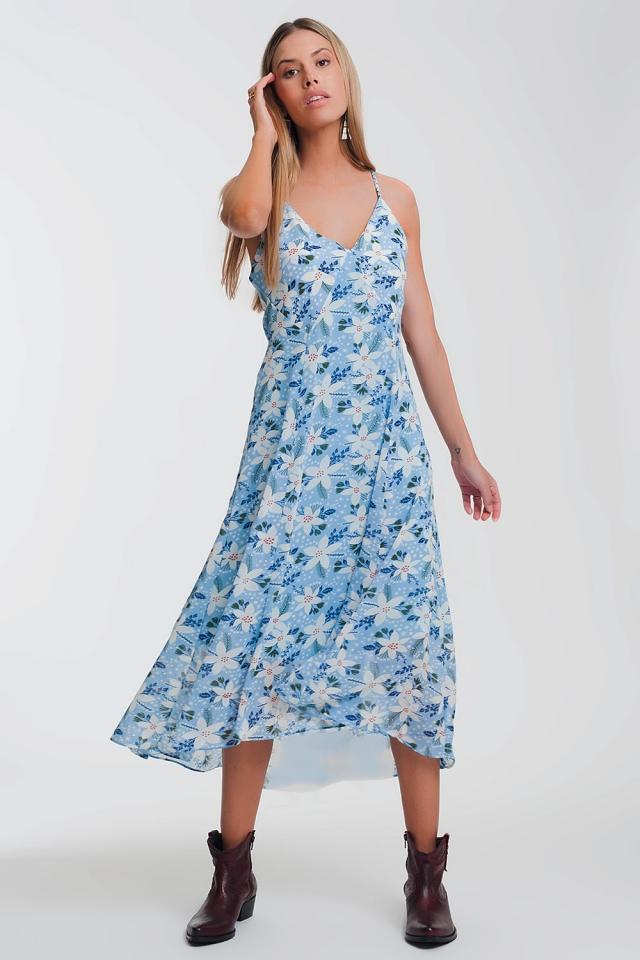 Vestito lungo blu a fiori con spalline sottili