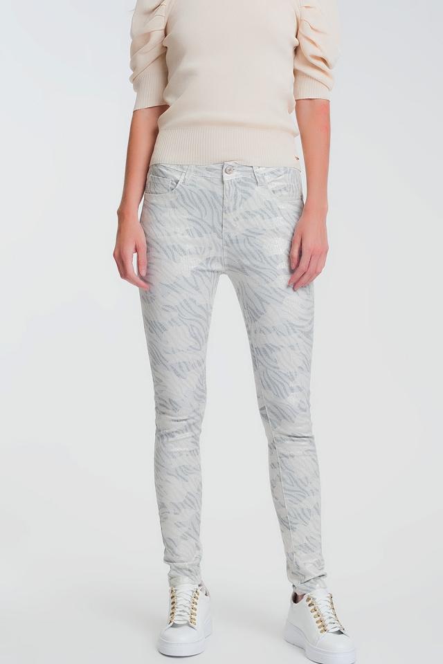 Pantaloni super skinny con ghette mimetici