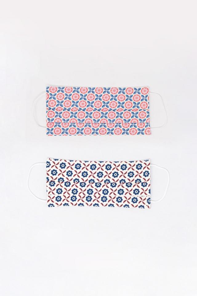 2 PACK maschera bianca e rosa con stampa geometrica
