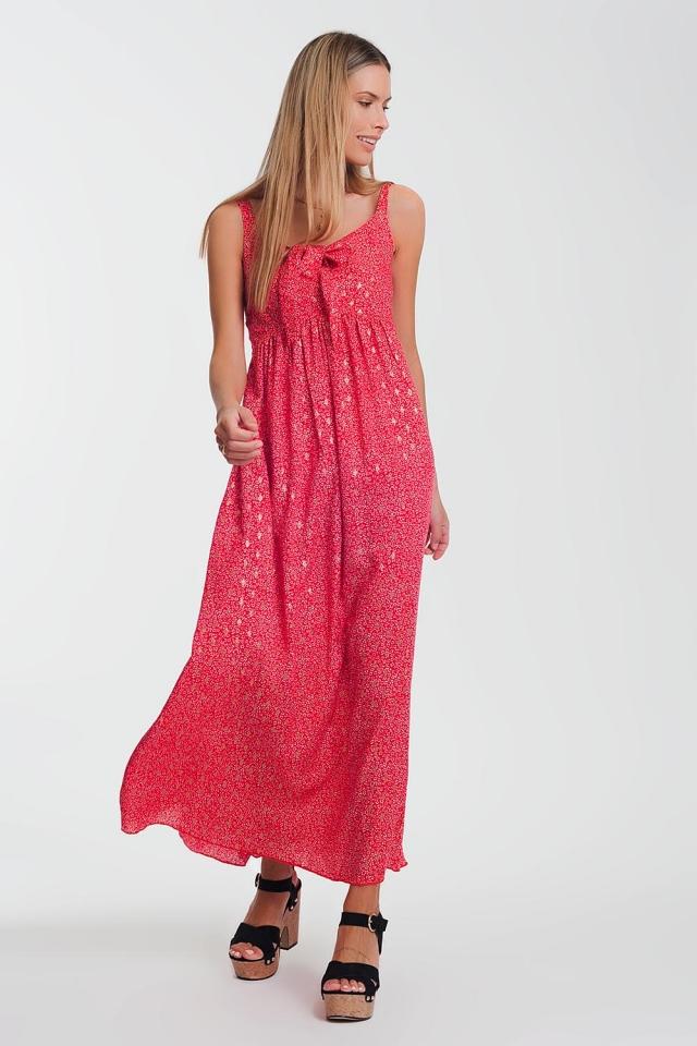 Vestito rosso midi con nodo a fiori