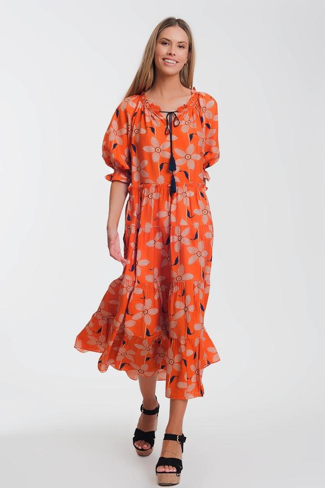 Vestito lungo morbido con maniche a sbuffo e stampa floreale vintage