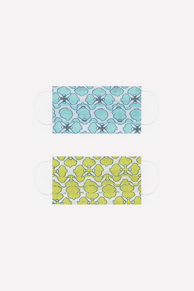 2 PACK Masque coton organique imprimé fleurs en vert e turquoise