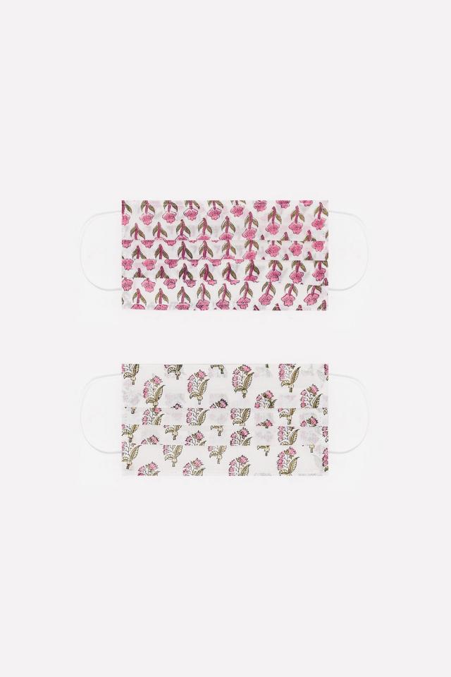 2 PACK Maschera rosa cotone organico con stampa fiori