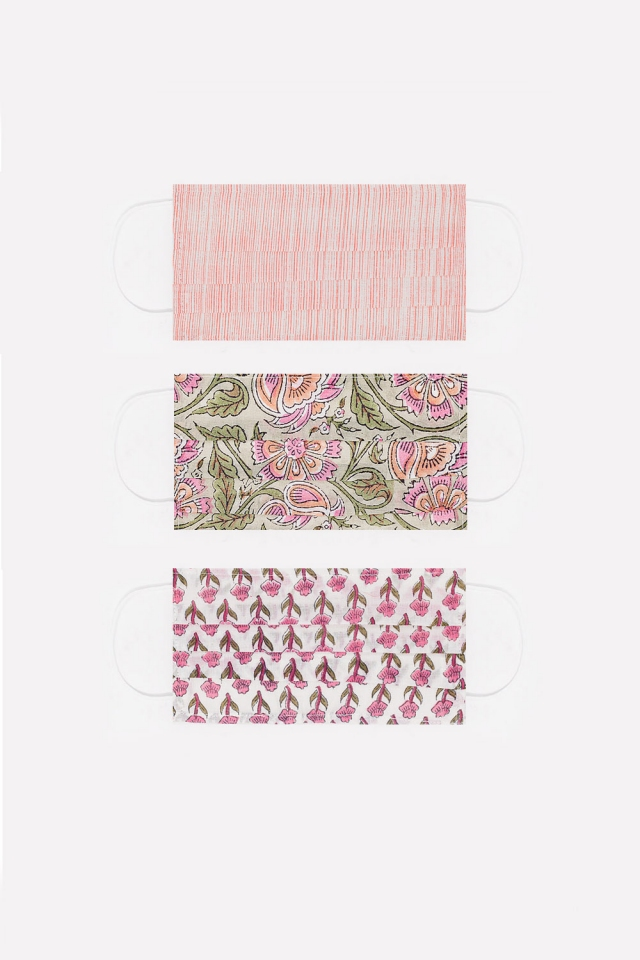 3 PACK Maschera rosa cotone organico con stampa