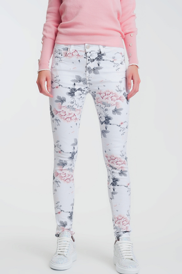 Pantaloni super skinny bianchi con stampa floreale