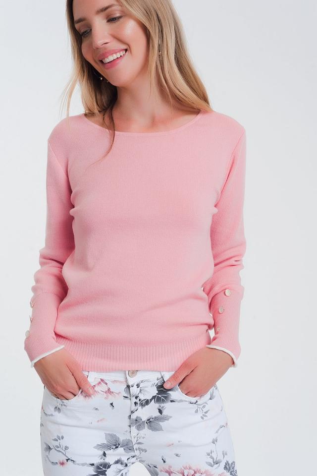 Maglione rosa con scollo a barchetta con bottoni