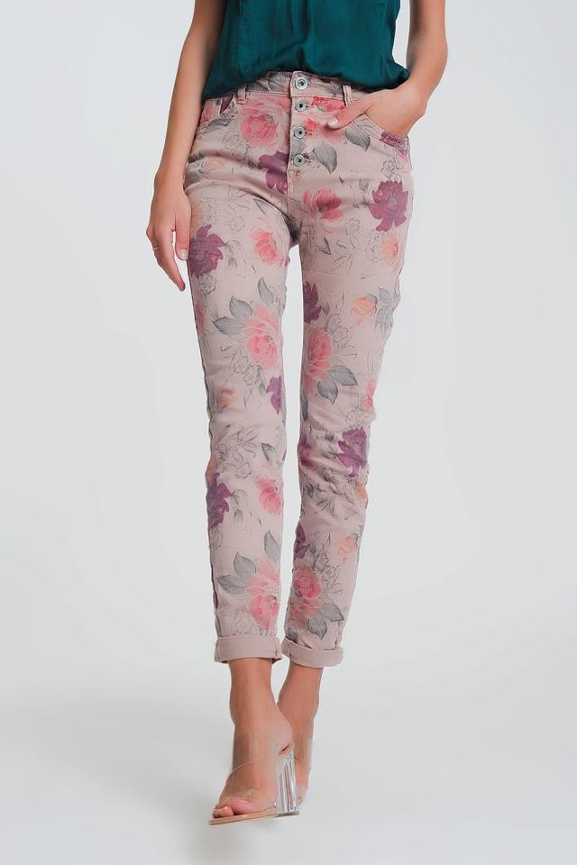 Pantaloni rosa boyfriend con stampa floreale