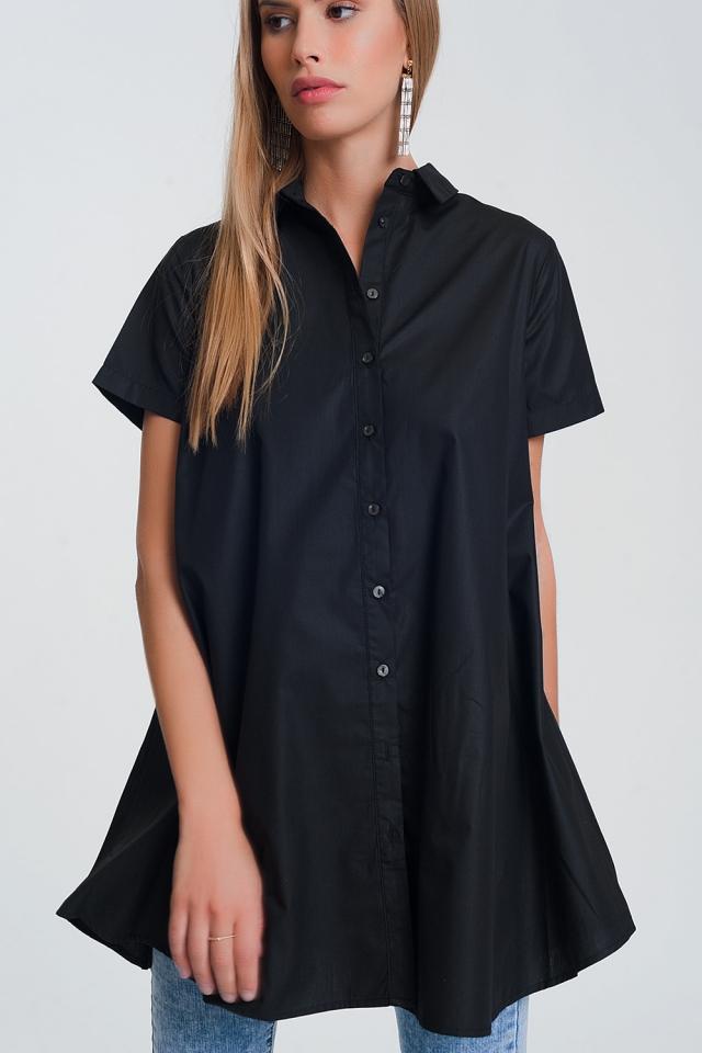 Camicia oversize in popeline nera