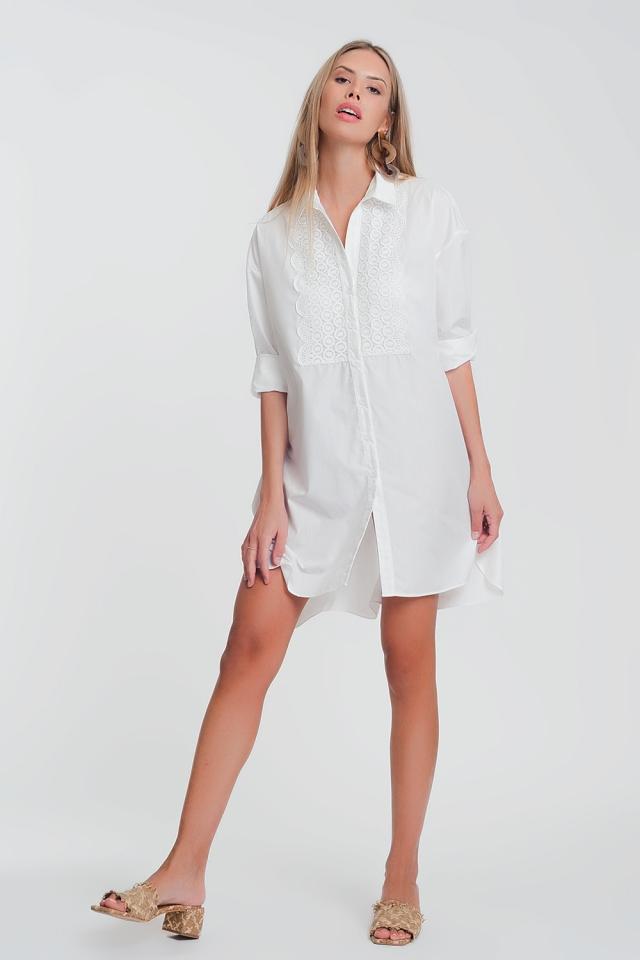 Vestito camicia in popeline bianco con dettagli in pizzo