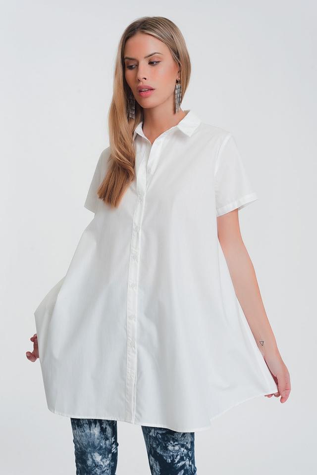 Camicia oversize in popeline bianca