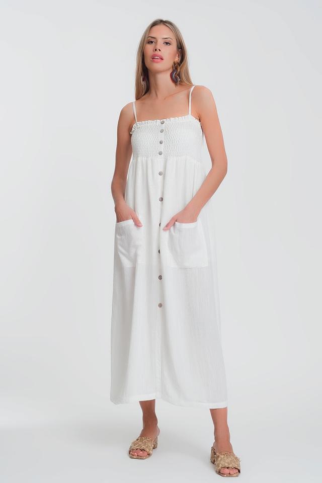 Vestito lungo bianco con corpino arricciato