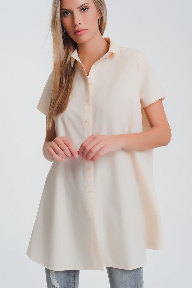 Camicia oversize in popeline beige